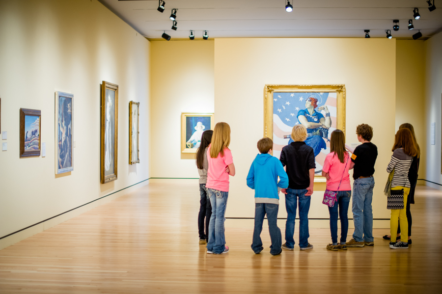 Young tour group in museum
